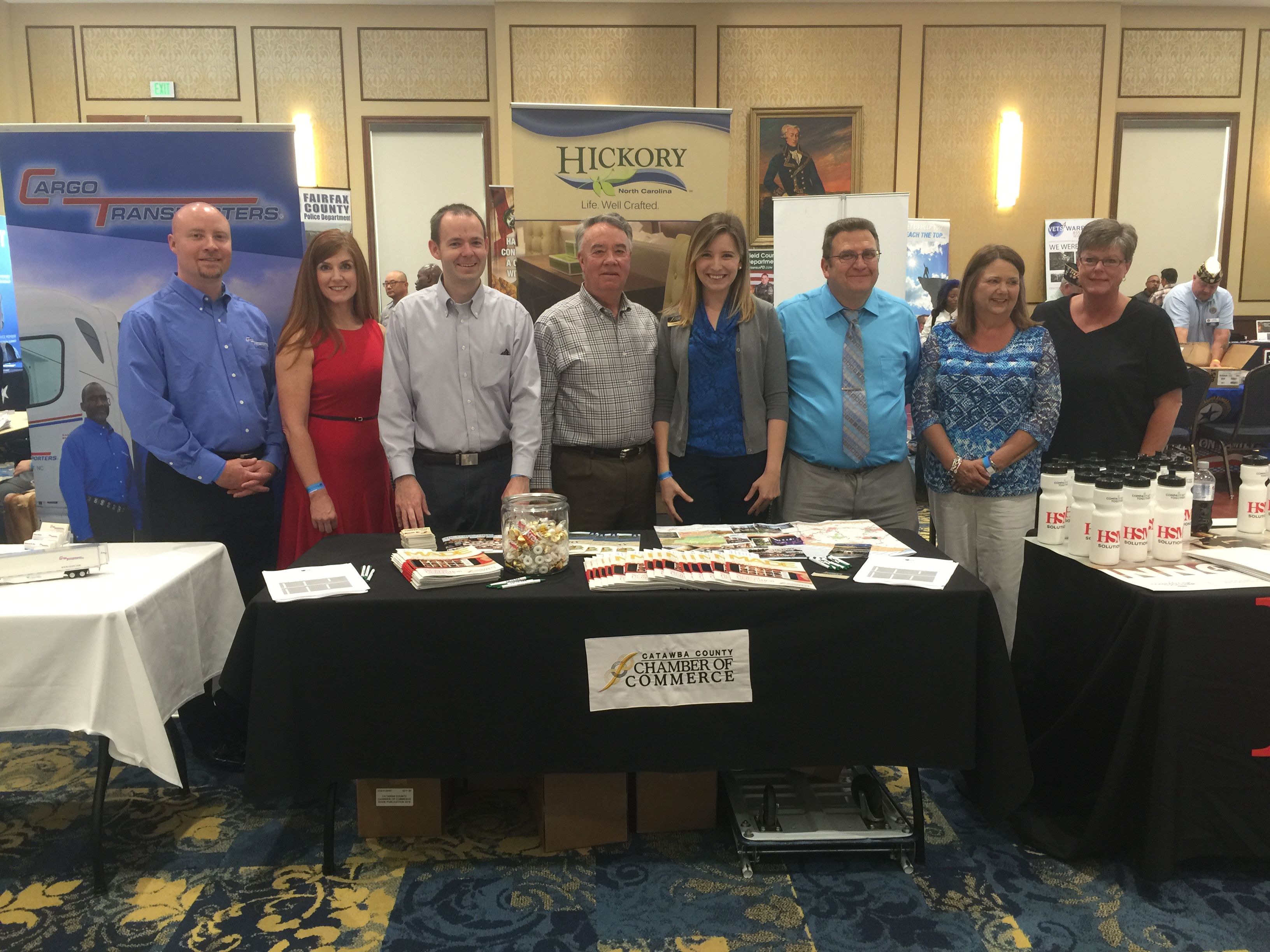 Catawba County attendees at the Hiring for Heroes Job Fair at Fort Bragg. Shown (from left) are Shawn Brown, Shelly Mundy, Nathan Huret, Danny Hearn, Lindsay Keisler, Russ Vickers, Paula Howe, Mary Kay Rayfield.