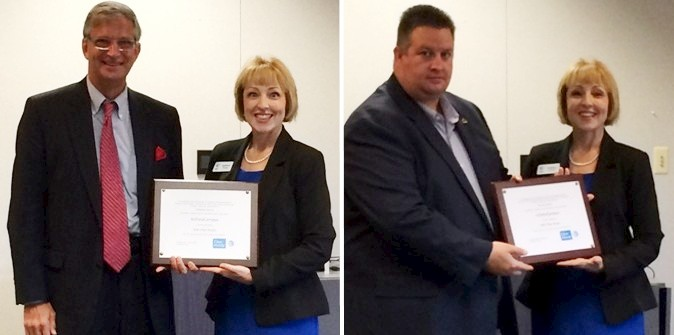 AT&T Regional Director of External Affairs, Kathleen Evans presents certificates to Catawba County Commission Chair Randy Isenhower (l) and City of Conover Manager Donald Duncan (r) designating the ncDataCampus as an AT&T Fiber Ready site.
