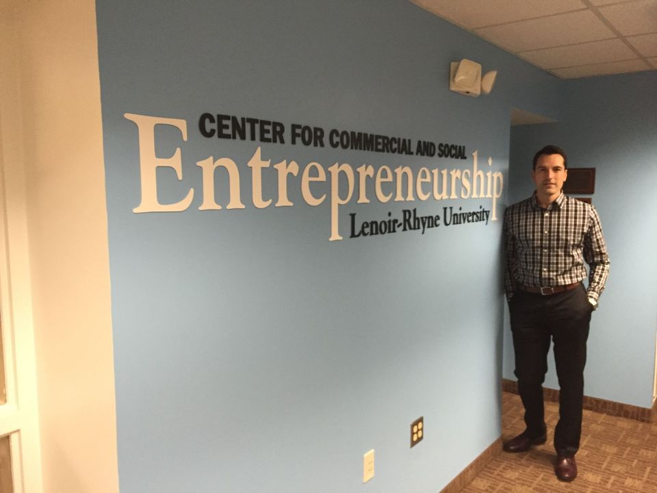 Director Ralph Griffith stands in Lenoir-Rhyne University's Center for Commercial and Social Entrepreneurship.  The center helps incubate both non- and for-profit businesses in Hickory.  (Image - Joshua Farmer)