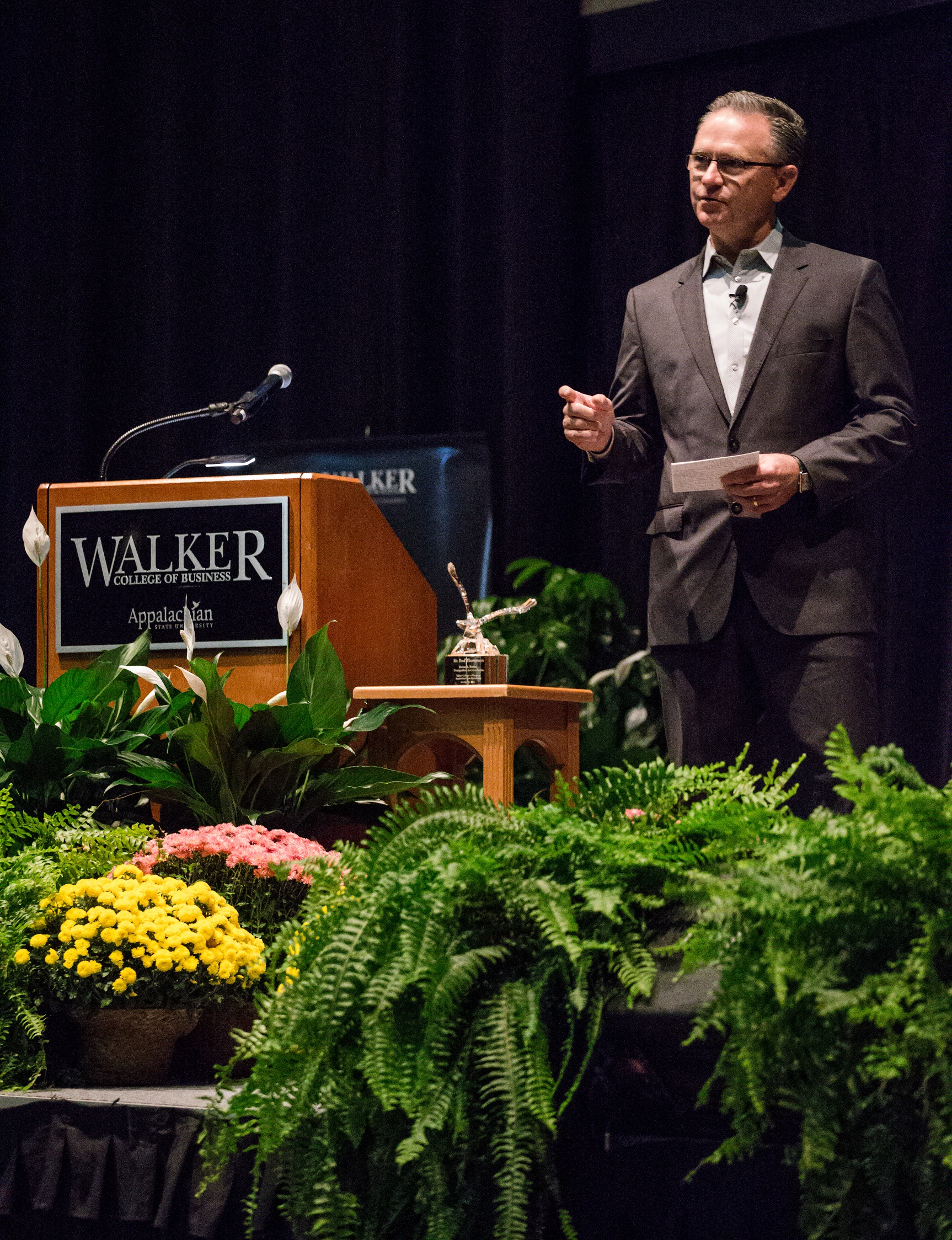 Transportation Insight Founder and Chairman Paul Thompson speaking at Appalachian State University